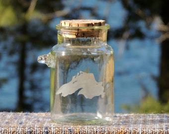 ON SALE! Small Glass Jar, Lake Superior Etching, Cork Top, Clear