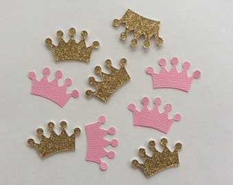 Gold glitter & pink crown confetti. Perfect for weddings/bridal showers/baby showers/engagement party/bachelorette/birthday/parties/princess