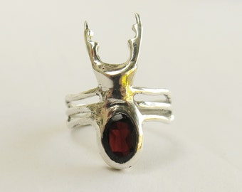 Handmade sterling silver 925 ring\ Stag beetle ring\ garnet and sterling silver\ beetle ring\ insect jewelry\ silver beetle