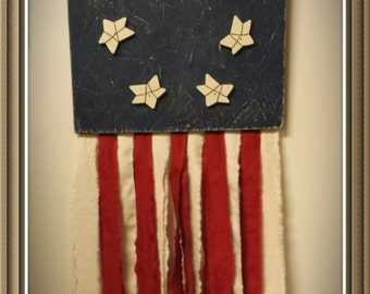 Patriotic - Americana 12x12 wooden flag with fabric strips