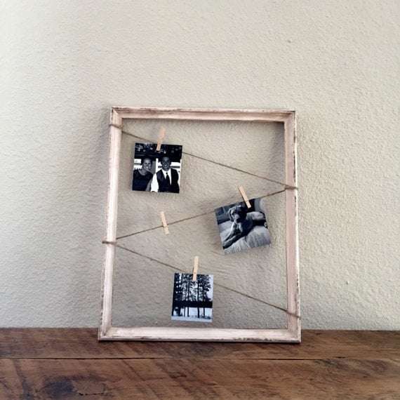 Clothespin Picture Frame Display Vintage Frame By Wiscofarms