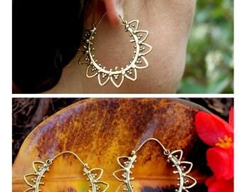 Brass earrings  flower shaped