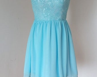 2015 Scoop Blue Lace Chiffon Short Bridesmaid Dress with Back Buttons