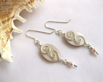 Pink Shell, Swarovski Pearls & Sterling Earrings \ Silver Seas Collection by The Celtic Elf