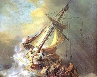 Digital Download of Jesus in the Boat in the Storm Printable Art Artwork Painting