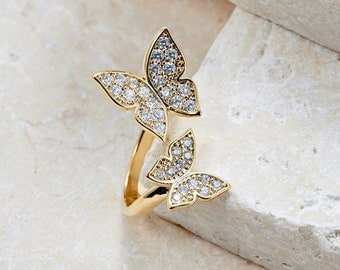 Karen Butterfly Ring white gold/ rose gold/ yellow gold plated adjustable ring trendy unique ring gift idea