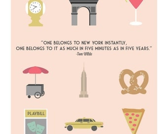"Illustrations of New York City Print : ""One belongs to New York Instantly..."""