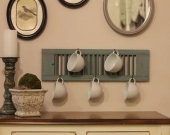 Cottage chic shutter rack
