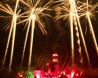 Disneyland Fireworks over Sleeping Beauty Castle Fine Art Photograph Print Size 5 inches by 7 inches
