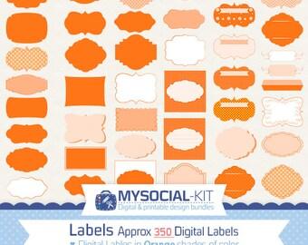 350 orange Digital Labels Frames | Instant Download | clip art Frames Borders |  digital labels | Digital labels set
