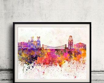 Bristol skyline in watercolor background 8x10 in to 12x16 Poster Digital Wall art Illustration Print Art Decorative  - SKU 0171