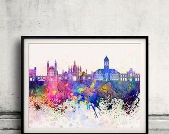 Cambridge skyline in watercolor background 8x10 in to 12x16 Poster Digital Wall art Illustration Print Art Decorative  - SKU 0191