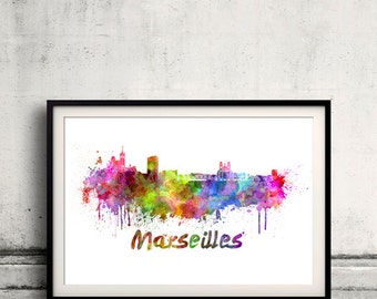 Marseilles skyline in watercolor over white background with name of city 8x10 in. to 12x16 in. Poster art Illustration Print  - SKU 0326