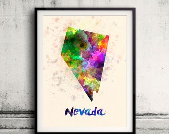 Nevada US State in watercolor background 8x10 in. to 12x16 in. Poster Digital Wall art Illustration Print Art Decorative  - SKU 0415