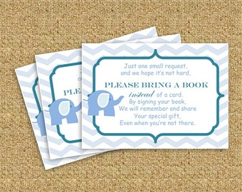 Baby Shower Book Request - Boy Elephant - Instant Download - PDF