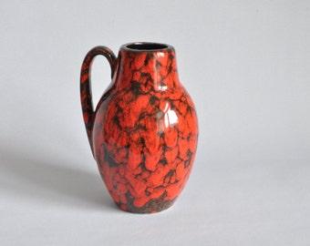 West German Pottery (WGP) Vase. Red and Black 414-16 Scheurich Vase. Mid-century Modern Studio 70s.