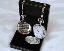Engraved/Personalised Pocket Watch - Ideal Gift For Birthday/Wedding/Best Man/Dad/Fathers Day/Grandad/Christening/Communion