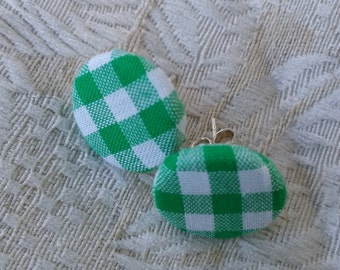 Green Gingham Fabric Earrings