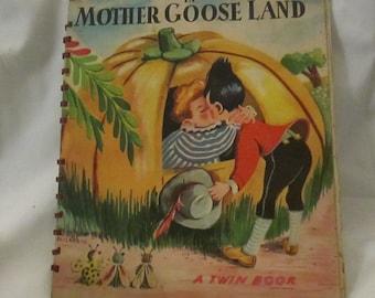 Vintage 1945 Kids Twin Book Mother Goose Land and Animal Land with Metal Ring Binding