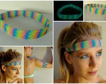 GLOW in the dark Rainbow Kandi Headband/Armband