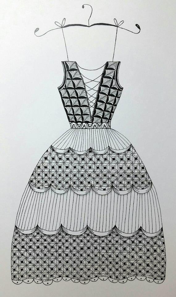 Beautiful Dress Zentangle Art Print