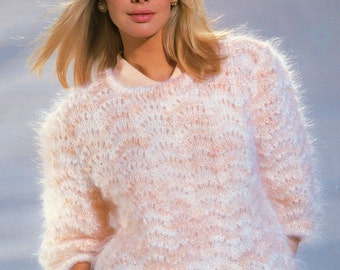Lady's Knitting Pattern Mohair Lace Sweater