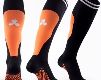 Samson® Orange Compression Sport Socks Athletic Running Made in UK
