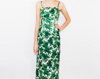 1970's Green Floral Dress