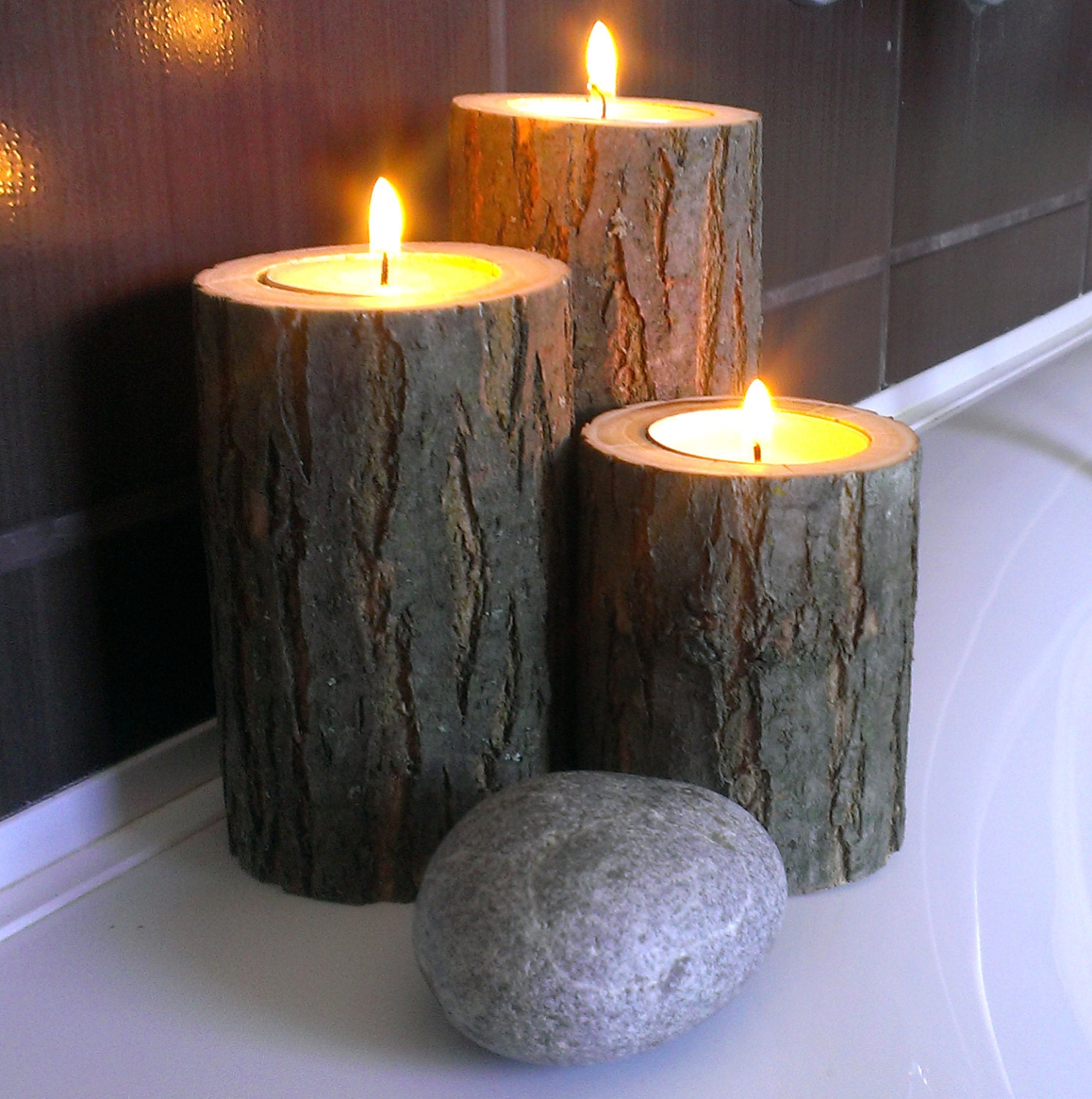Acacia tree branch candle holders bath decor tea light for Bathroom decor with candles
