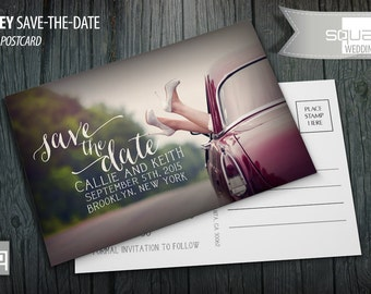 Save the Date Calendar Photo Postcard - Custom Emerald Accent Cards - Save-the-Date - Photo Postcards - RIDLEY style - Bespoke Engagement