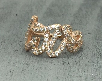 Rose Gold Love CZ ring, 925 sterling silver rose gold Love ring, written Script love letters ring size 5 6 7 8 9 10  ON SALE!!