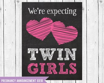 Expecting twin girls pregnancy announcement // Twin girls pregnancy reveal photo prop // Pregnant With Twins Instant Download JPEG Printable