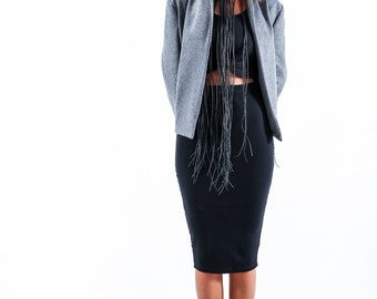 Womens Jacket, Womens Blazer, Oversized Jacket, Gray Jacket, Plus Size Jacket, Wool Blazer, Wool Jacket, Short Coat, Wool Coat