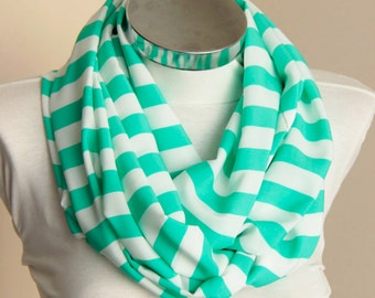 Spring Summer Fashion green and white stripes: Stripes Scarf scarf with green and white colors shawl wrap spring summer fashion gift for her