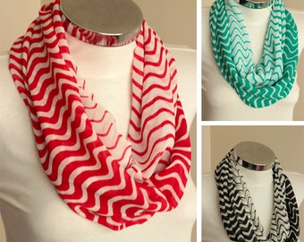Red infinity Scarf wavy zig zag chevron scarf with red  and white green black colors,  spring summer fashion, gift for her, for women