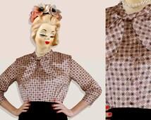 70s Biba Moorish Nude Blouse - Button-up Tie-bow Beige Satin Shirt - Novelty Art Deco Morrocan Tile Print