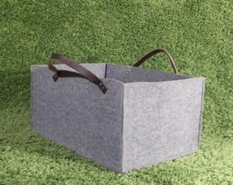Felt storage basket with leather straps, size XL, storage box, log basket, for wood, large basket, grey, felt, storage, leather, basket