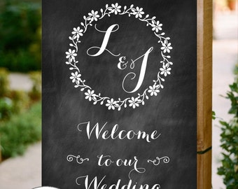 Personalised Printable Chalkboard Wedding Sign, Welcome to our Wedding, PDF