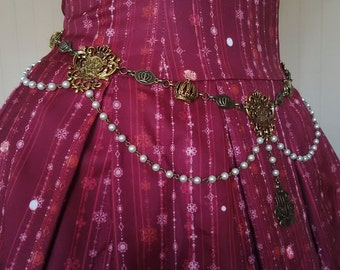 Royal Decree Crown Emblem Waist Chain Belt (Antique Gold Tone)