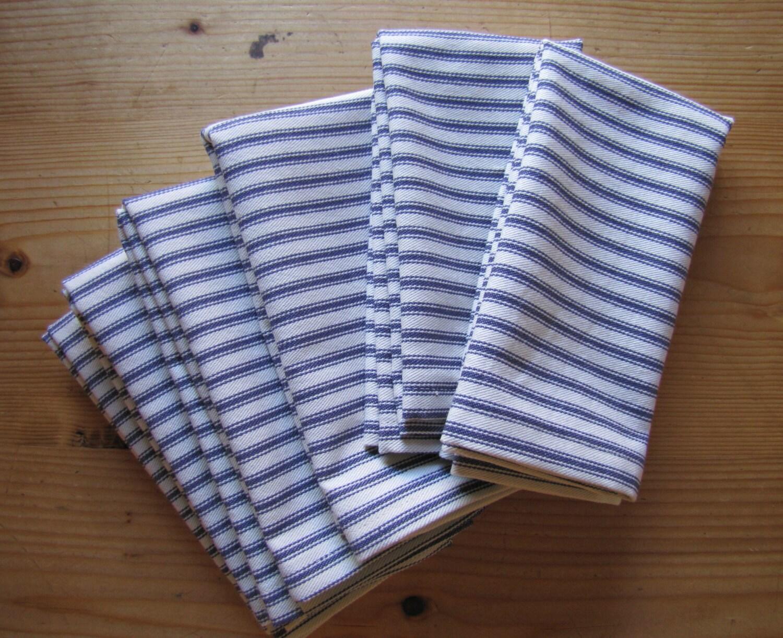 Cloth Napkins Set Of 6 Blue Ticking Stripe Cotton Napkins