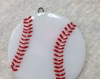 "Baseball Fused Glass Ornament 3.5""Diameter"