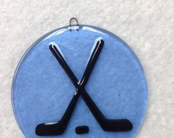 "Hockey Fused Glass Ornament 4.5"" Diameter"