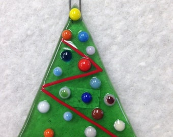 "Christmas Tree Fused Glass Ornament 3""x3.5"""