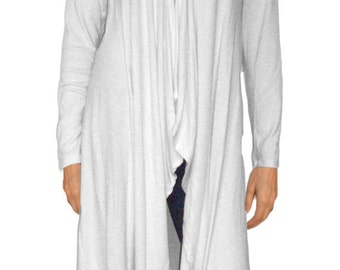 Ooh La La Jersey Knit Long Lightweight Drape Front Cardigan