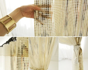 Glamorous Gold Metallic Plaids Curtain Decorative Drapery Panel