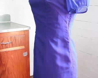 Vintage 1950s or 1960s dress, blue, sheer