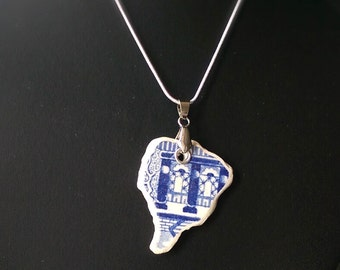 Willow Pattern Sea Pottery Necklace