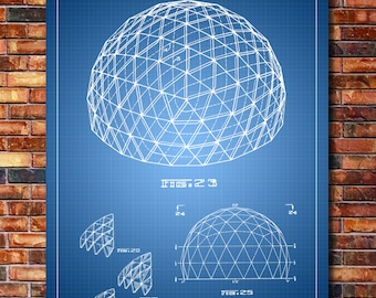 Geodesic Dome Patent Print Art 1965
