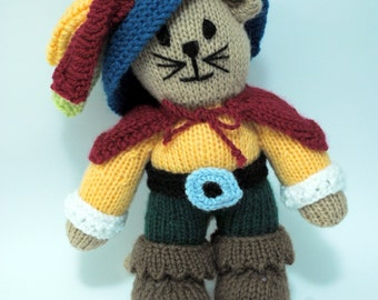 Handmade Knitted Puss and Boots Doll (Brand New)