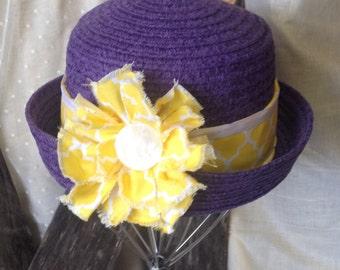 Handmade / Women's hats / Purple bucket hat /  bucket hats /  purple and yellow /  beach hat /  resort hat / decorated hats / summer hat